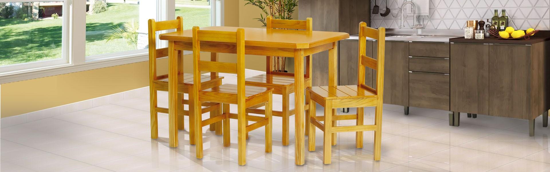 Conjunto cozinha 1,15 x 0,75 com 4 cadeiras de encosto baixo cerejeira