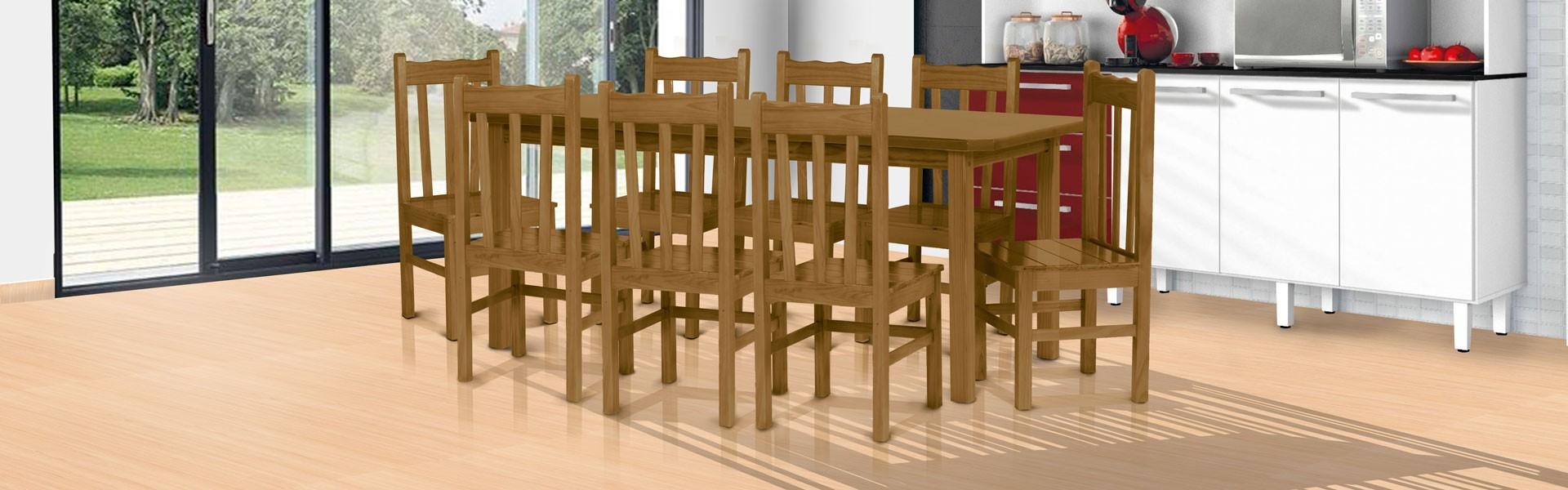 Conjunto mesa 2,00 x 0,88 com 8 cadeiras de encosto alto imbuia