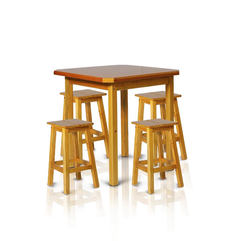 Conjunto mesa 0,75 x 0,75 com 4 banquetas de 0,50m - Cerejeira