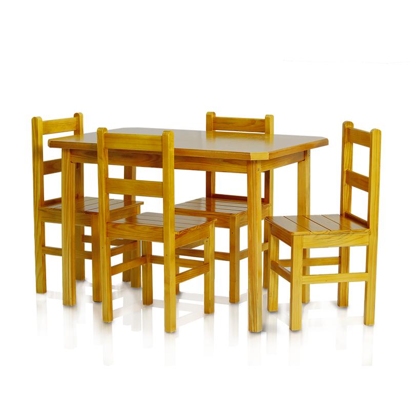 Conjunto mesa 1,15 x 0,75 com 4 cadeiras com encosto baixo - Cerejeira