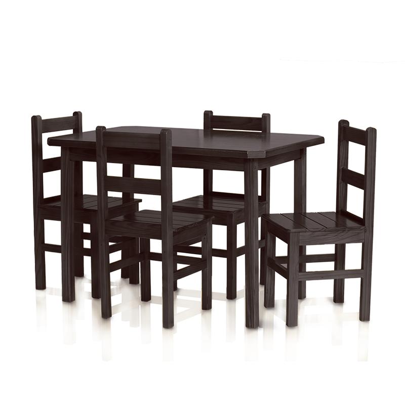 Conjunto mesa 1,15 x 0,75 com 4 cadeiras com encosto baixo - Tabaco
