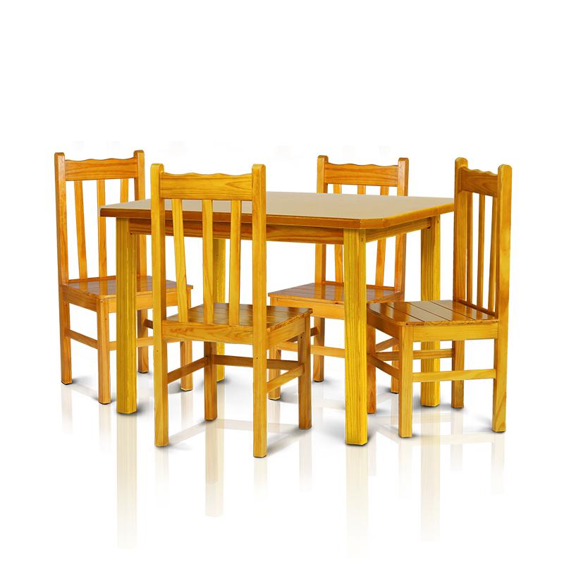 Conjunto mesa 1,20 x 0,75 com 4 cadeiras com encosto alto - Cerejeira