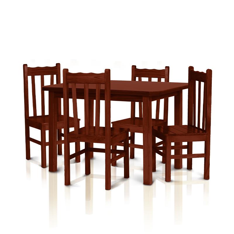 Conjunto mesa 1,20 x 0,75 com 4 cadeiras com encosto alto - Mogno
