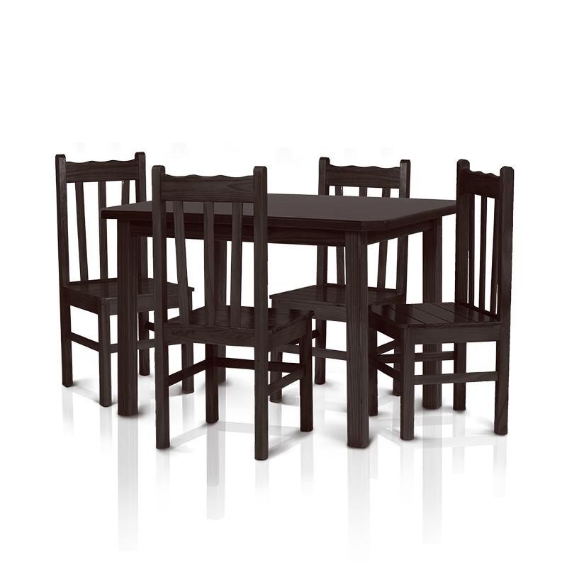 Conjunto mesa 1,20 x 0,75 com 4 cadeiras com encosto alto - Tabaco