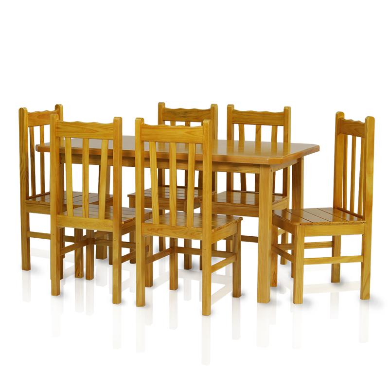 Conjunto mesa 1,50 x 0,80 com 6 cadeiras com encosto alto - Cerejeira