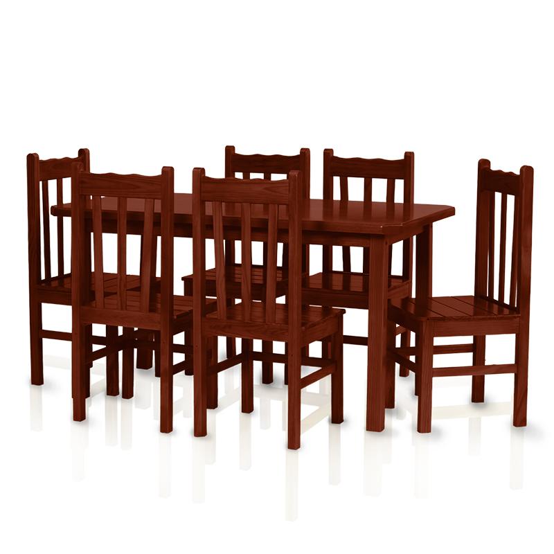 Conjunto mesa 1,50 x 0,80 com 6 cadeiras com encosto alto - Mogno