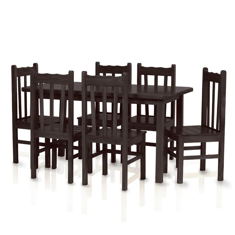 Conjunto mesa 1,50 x 0,80 com 6 cadeiras com encosto alto - Tabaco