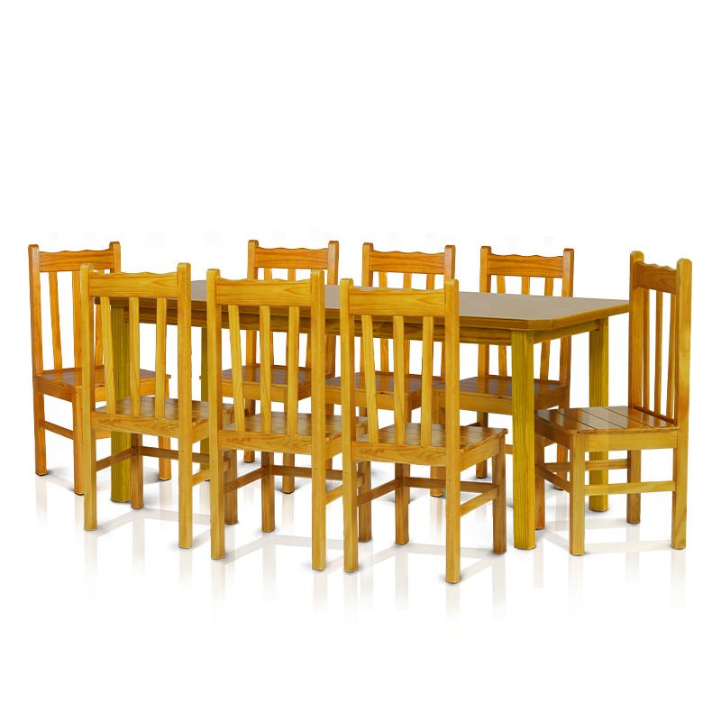 Conjunto mesa 2,20 x 0,88 com 8 cadeiras com encosto alto - Cerejeira