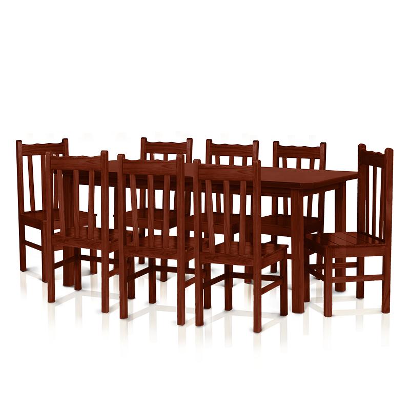 Conjunto mesa 2,20 x 0,88 com 8 cadeiras com encosto alto - Mogno