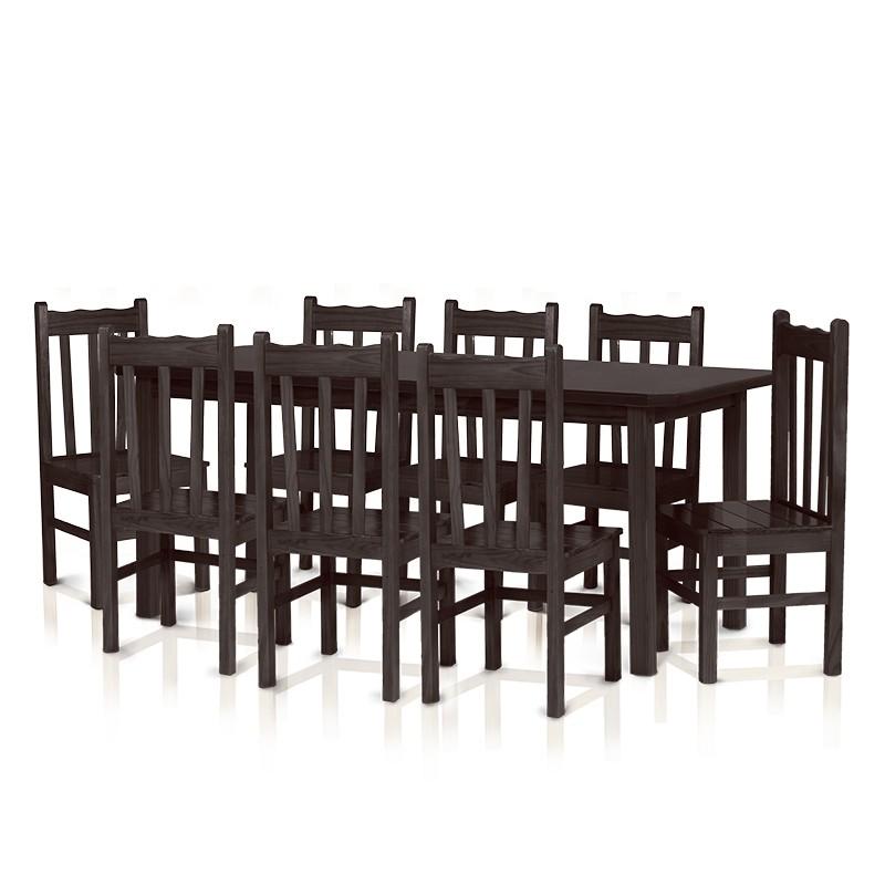 Conjunto mesa 2,20 x 0,88 com 8 cadeiras com encosto alto - Tabaco