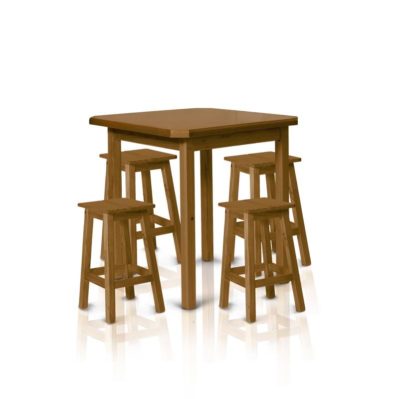 Conjunto mesa 0,75 x 0,75 com 4 banquetas de 0,50m - Imbuia