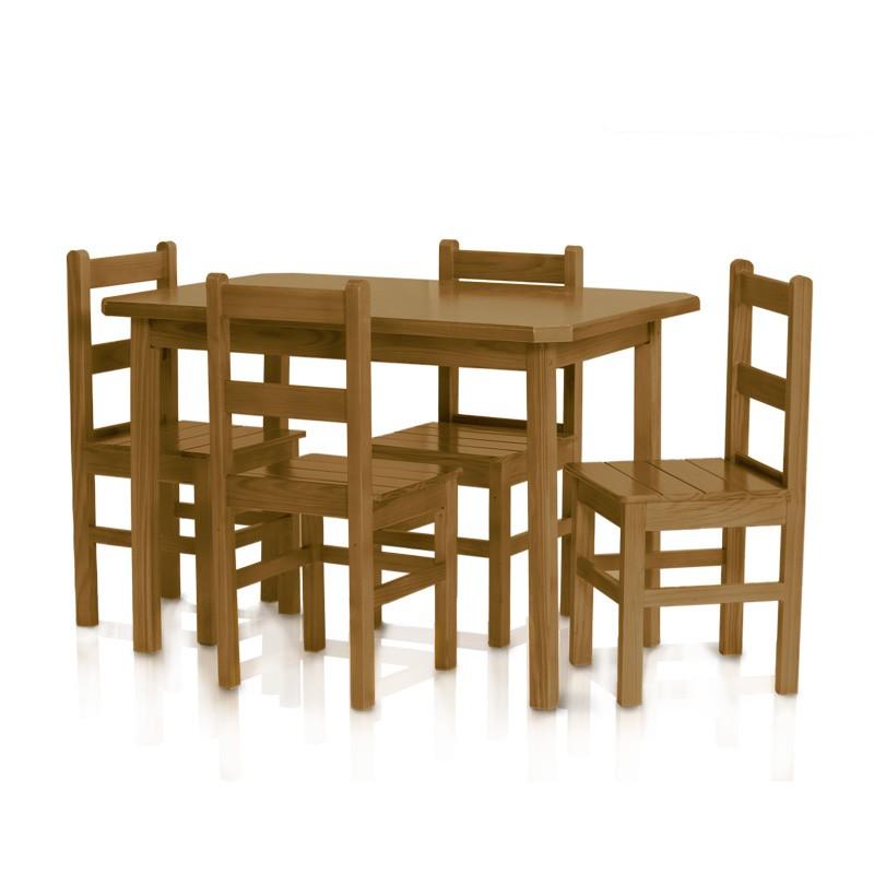 Conjunto mesa 1,15 x 0,75 com 4 cadeiras com encosto baixo - Imbuia
