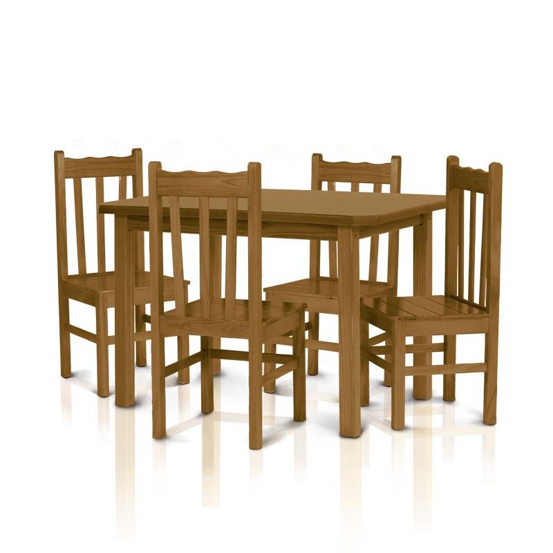 Conjunto mesa 1,20 x 0,75 com 4 cadeiras com encosto alto - Imbuia