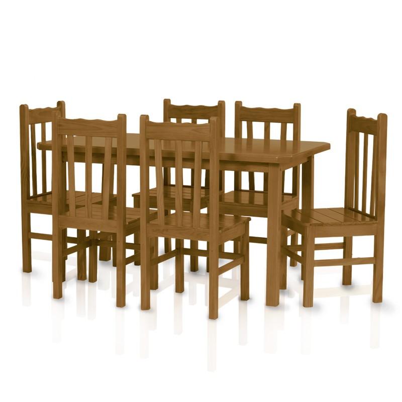 Conjunto mesa 1,50 x 0,80 com 6 cadeiras com encosto alto - Imbuia