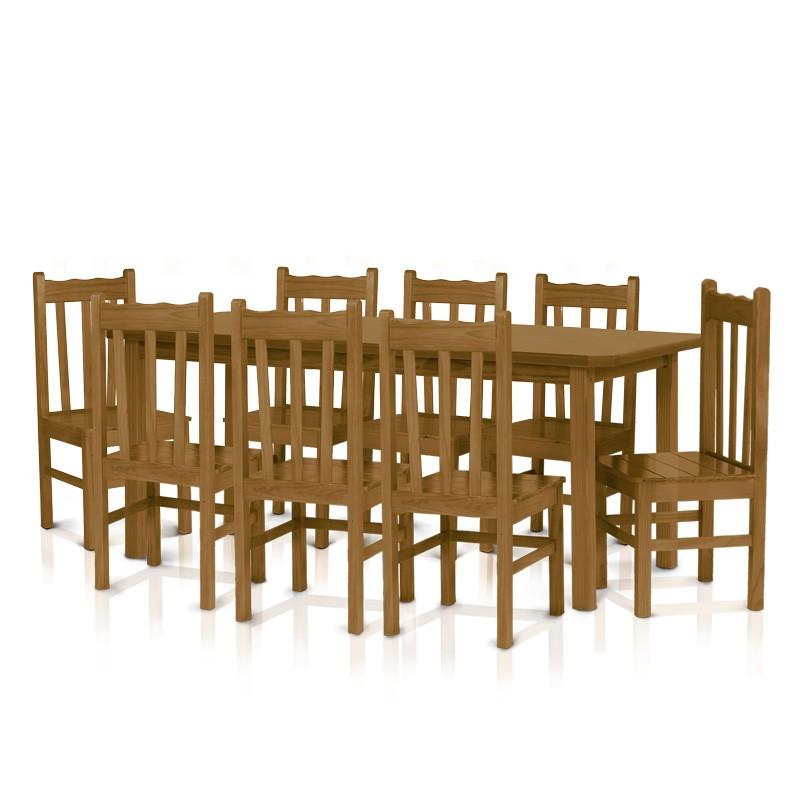 Conjunto mesa 2,20 x 0,88 com 8 cadeiras com encosto alto - Imbuia